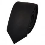 Schmale TigerTie Designer Krawatte schwarz Uni Rips - Tie