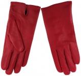 Damen Lederhandschuhe - hochwertiges weiches Schafsleder in rot - Gr. 7, 5