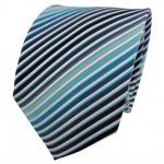 TigerTie Seidenkrawatte türkis mint ozeanblau weiß gestreift - Krawatte Seide