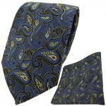 TigerTie Krawatte + Einstecktuch in blau gold schwarz rot Paisley