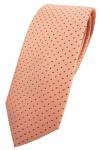 schmale TigerTie Designer Seidenkrawatte in orange lachs gepunktet - 100% Seide