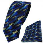 schmale TigerTie Krawatte + Einstecktuch blau türkis gold schwarz gestreift