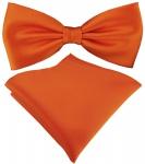 TigerTie Satin Fliege + TigerTie Einstecktuch in orange Uni Einfarbig + Box