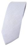 schmale TigerTie Designer Krawatte Pique hellgrau-weiß gemustert -100% Baumwolle