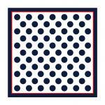 TigerTie Seiden Nickituch Satin in marine rot weissgrau gepunktet - 50 x 50 cm
