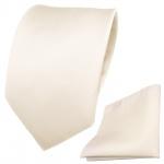 Designer TigerTie Krawatte + Einstecktuch weiß perlweiß creme cremeweiß Uni Rips