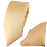schmale TigerTie Satin Seidenkrawatte + Seideneinstecktuch beige gold bronze Uni