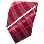 TigerTie Krawatte rot dunkelrot weiß schwarz grau gestreift - Binder Tie