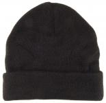 Strickmütze schwarz Stich braun Uni - Damen Mütze Gr. M - Wintermütze