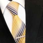 XXL Designer Krawatte gelb gold blau weiß creme gestreift + Krawattennadel