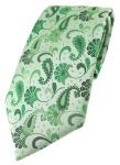 TigerTie Designer Krawatte in grün grasgrün anthrazit Paisley gemustert
