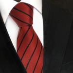 Designer Seidenkrawatte braun rotbraun kupfer schwarz gestreift - Krawatte Seide