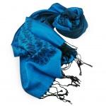 Schal in türkis blau türkisblau schwarz gemustert Gr. 175x68 cm - 100% Viskose