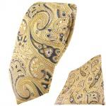 schmale TigerTie Krawatte + Einstecktuch gelb beige sandgelb anthrazit Paisley