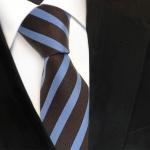 TigerTie Seidenkrawatte blau braun dunkelbraun gestreift - Krawatte Seide Silk