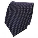 Designer Seidenkrawatte blau dunkelblau schwarz silber gestreift- Krawatte Seide