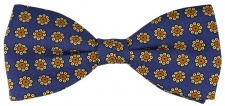 TigerTie Seidenfliege in blau gold braun Blumen gemustert - Fliege 100% Seide