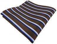TigerTie Einstecktuch in braun dunkelbraun blau weiß gestreift