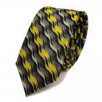schmale Krawatte schwarz anthrazit gelb grau 100% Seide