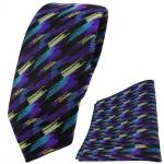 schmale TigerTie Krawatte + Einstecktuch lila türkis gold schwarz gestreift