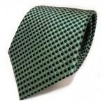Designer Seidenkrawattegrün grau anthrazit schwarz kariert - Krawatte