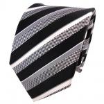 TigerTie Designer Seidenkrawatte schwarz grau silber weiß gestreift - Krawatte