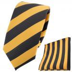 schmale TigerTie Krawatte + Einstecktuch goldgelb anthrazit schwarz gestreift