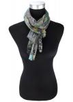 Designer Schal in türkis grün grau schwarz lila gemustert - Größe 180 x 50 cm