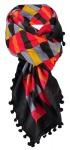 Damenschal rot orange gelborange schwarz mit Bommeln - Gr. 100 x 100 cm - Schals