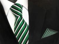 TigerTie Krawatte + Einstecktuch in grün signalgrün schwarz weiss gestreift