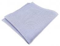 TigerTie Einstecktuch 100% Baumwolle - Pique blau-weiss gemustert - 30 x 30 cm