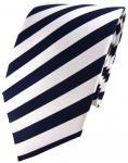 schöne TigerTie Seidenkrawatte in marine silber gestreift - Krawatte 100% Seide