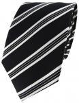 TigerTie Designer Seidenkrawatte weiß schwarz gestreift - Krawatte Seide Silk