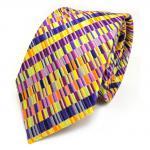 Seidenkrawatte magenta orange gelb lila violett pink gestreift - Krawatte Seide