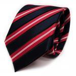 Designer Seidenkrawatte rot blau dunkelblau schwarz silber gestreift - Krawatte