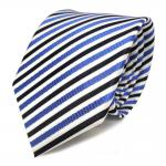 Designer Seidenkrawatte blau weiss dunkelblau gestreift - Krawatte Seide Tie