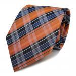 TigerTie Designer Seidenkrawatte orange blau dunkelblau weiß gestreift - Krawatte