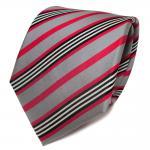 TigerTie Designer Seidenkrawatte rot grau schwarz weiß gestreift - Krawatte Tie