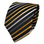 TigerTie Seidenkrawatte schwarz gold gelb silber grau gestreift - Krawatte Seide