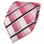 TigerTie Designer Seidenkrawatte rot anthrazit weiß gestreift - Krawatte Seide