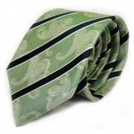 Krawatte grün grasgrün dunkelgrün weiss gestreift Paisley reine Seide / Silk