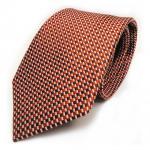 Designer Seidenkrawatte orange braun silber gemustert - Krawatte 100% Seide Silk