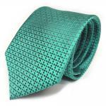 Schöne Seidenkrawatte türkis grau gemustert - Krawatte 100 % Seide Silk