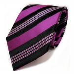 Schöne Seidenkrawatte lila violett magenta schwarz silber gestreift - Krawatte Seide