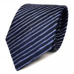 Schicke Seidenkrawatte blau dunkelblau gestreift - Krawatte Seide Tie