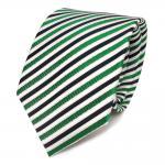 Designer Seidenkrawatte grün weiss dunkelblau gestreift - Krawatte Seide Tie