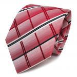 Designer Seidenkrawatte rot signalrot weiss royal gestreift - Krawatte Seide