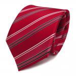 Designer Seidenkrawatte rot signalrot weiss schwarz gestreift - Krawatte Seide