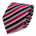 Designer Seidenkrawatte rot rubinrot blau schwarzblau creme gestreift - Krawatte