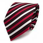 Designer Seidenkrawatte rot signalrot schwarz silber gestreift - Krawatte Seide